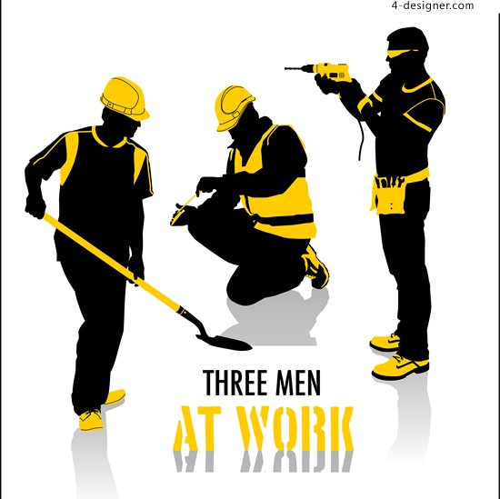 Construction workers silhouettes vector material design construction personnel