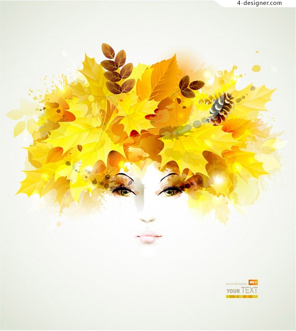 Creative Head of a Woman leaves vector material