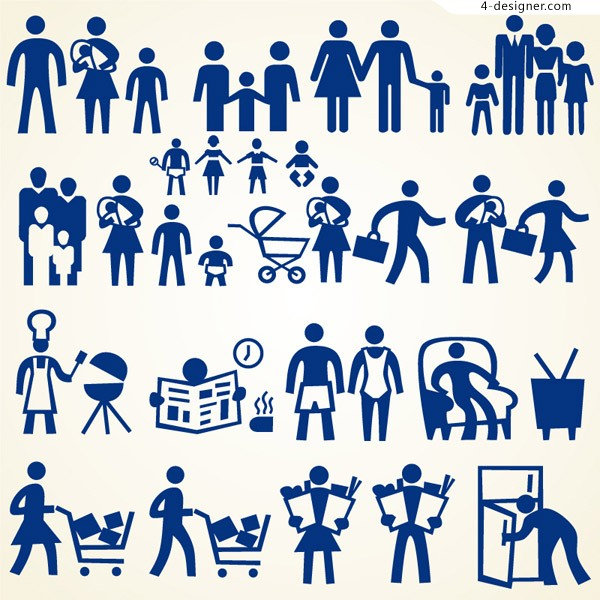 Creative family silhouette figures vector material