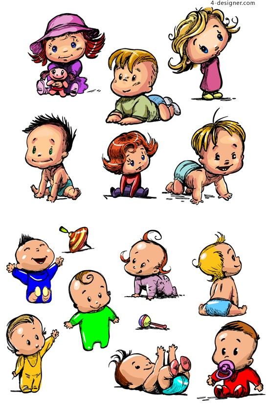Cute baby vector material painted stained