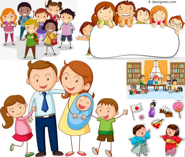 Cute cartoon children and parents of students and other vector material Free Download