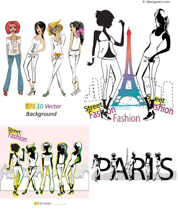 Fashion girl vector material downloaded