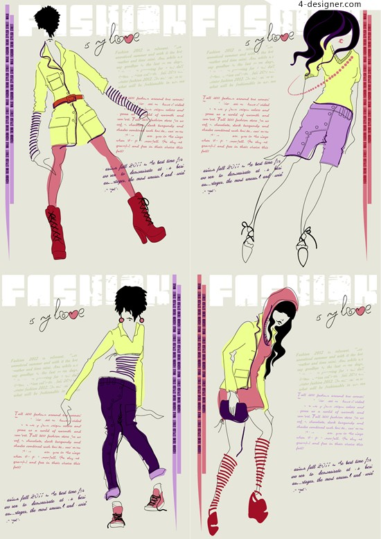 Fashion girl vector material painted hand painted