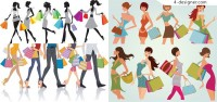 Fashion shopping figures vector material fashionable men and women