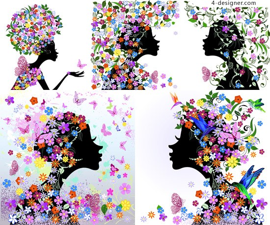 Female silhouette vector material colorful flowers colorful flowers
