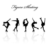 Figure skating silhouette figures vector material