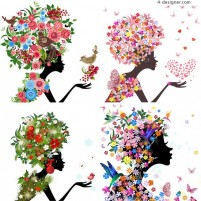 Gorgeous floral beauty silhouette vector material gorgeous flowers