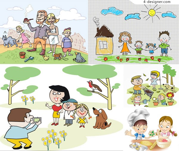 Hand in hand such as children playing cute vector material