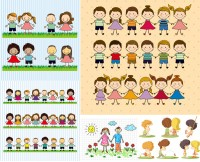 Hand painted cartoon cute kids and other characters vector material