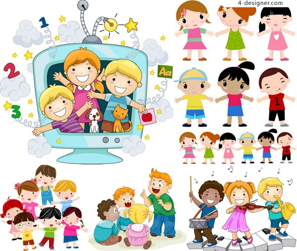 Happy kids playing cute cartoon vector material free download