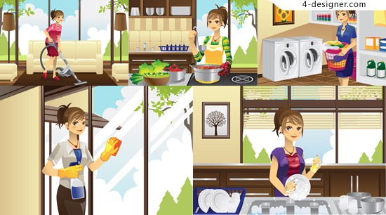 Industrious housewife illustrator vector material home beauty