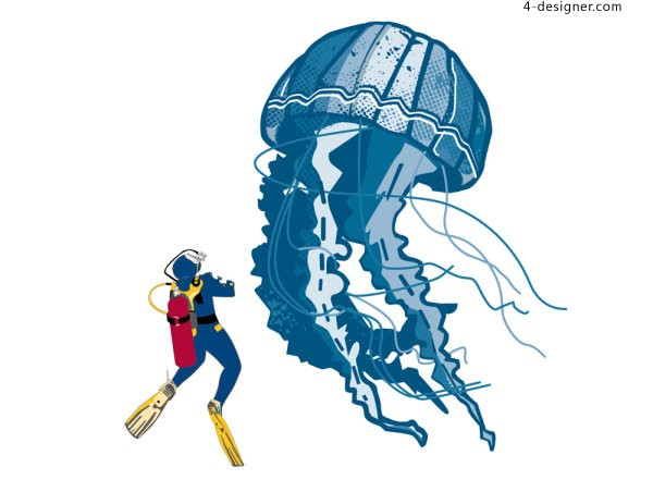 Jellyfish and diver character