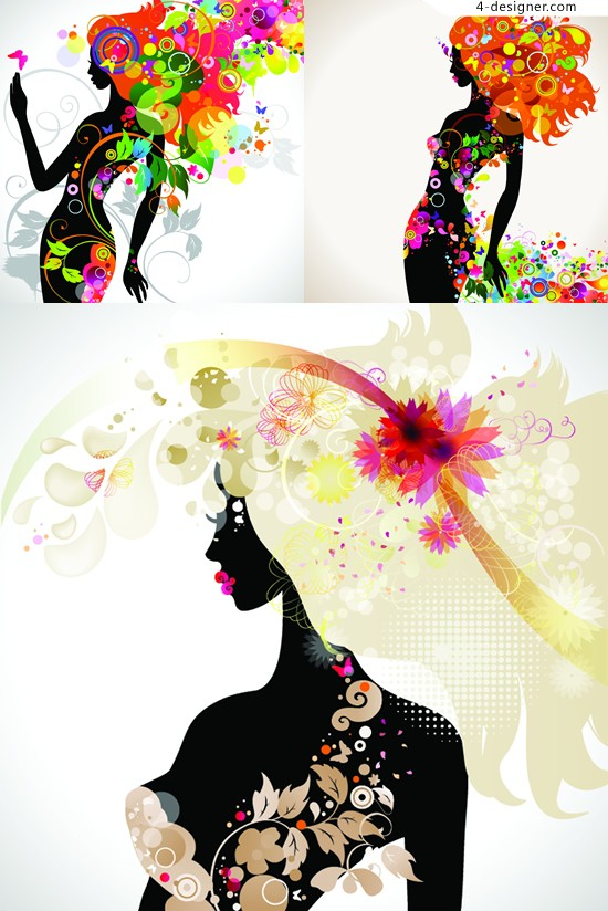Johnson Charm gorgeous female silhouette pattern vector material gorgeous patterns