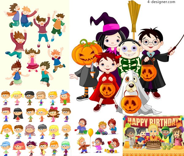 Kinds of cartoon characters vector material