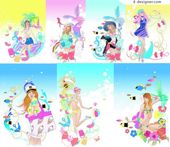 Leisure cartoon beauty vector material and leisure