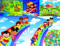 Lovely children s playground vector download cartoon farm
