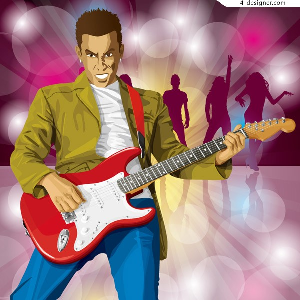Man playing guitar and dancer illustrator vector material
