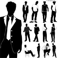 Men s fashion silhouette vector material