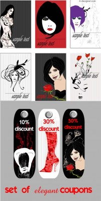 Painted fashionable girl vector material the trend of fashion