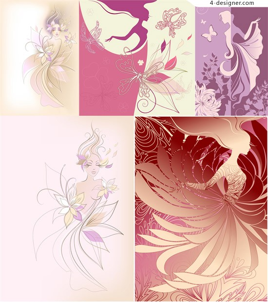 Painted pattern vector material beauty painted beauty
