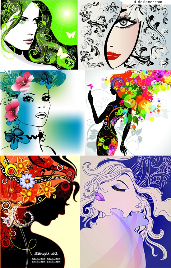 Painted pattern vector material gorgeous beauty gorgeous patterns