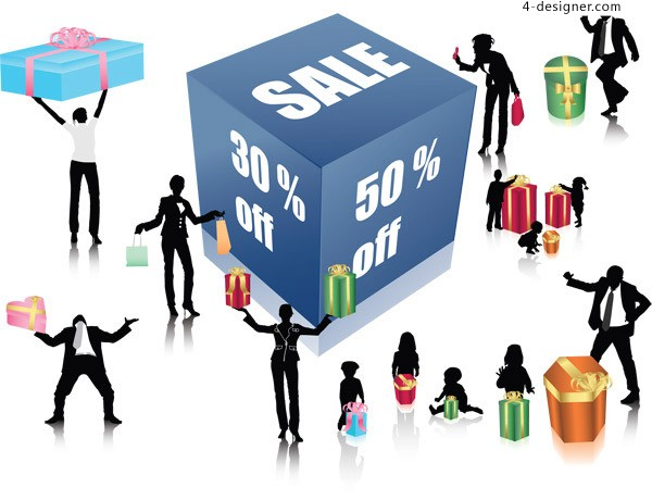 People shopping silhouette vector free download
