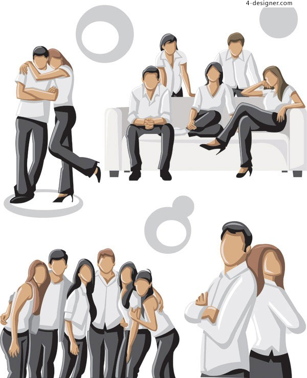 Photo of young men and women vector material