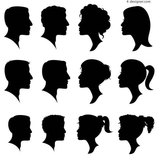 Portraits silhouette vector material