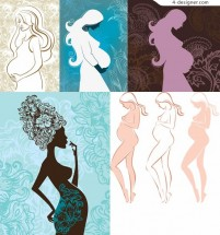 Pregnant women silhouette line drawing vector material line drawing
