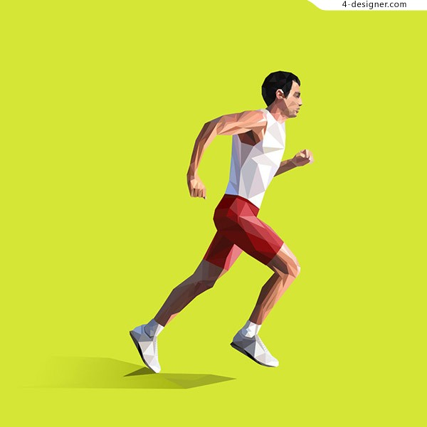 Running male characters vector material