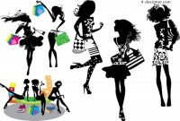 Shopping girl silhouette vector material