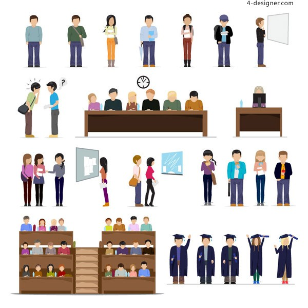 Students creative character design vector material
