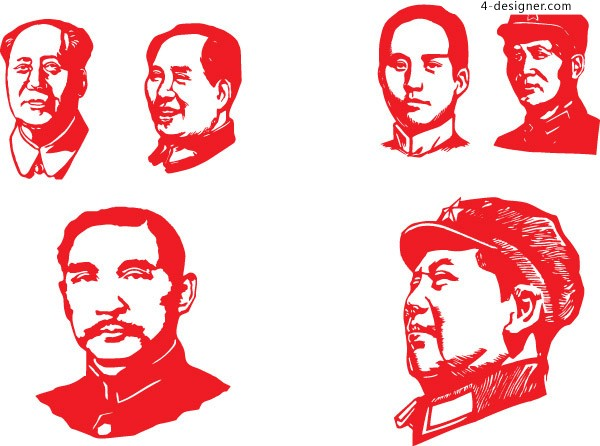 Sun Yat sen and Mao Zedong as vector material