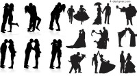 The bride and groom silhouette vector material