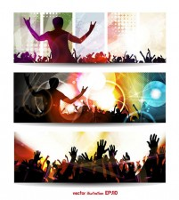 The trend of music vector crowd silhouettes banner material