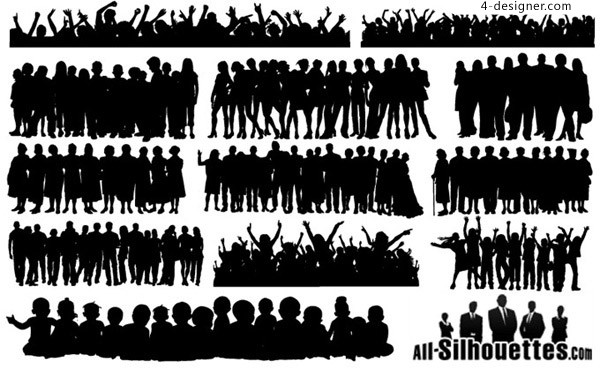 Variety of creative characters silhouette vector material
