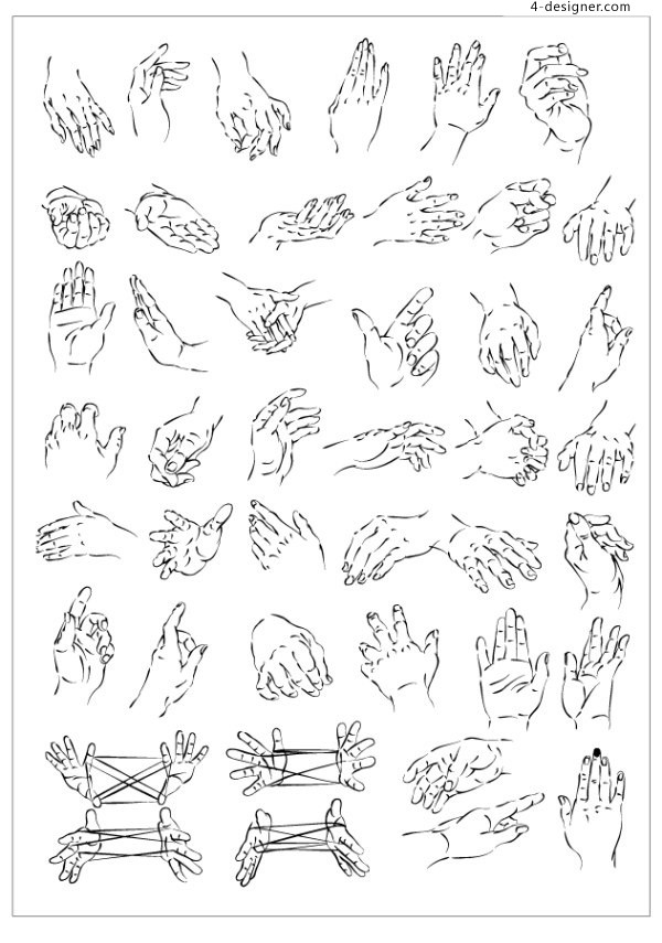 Vector drawing hand gestures