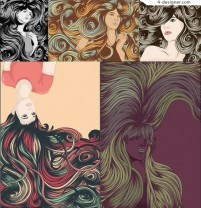 Vector elegant woman with long hair