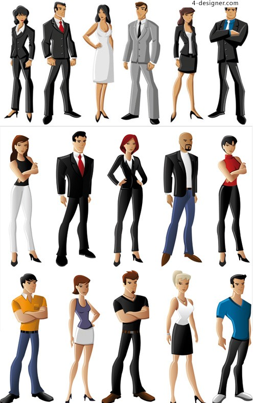 White collar cartoon characters vector material