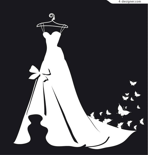 White dress silhouettes and butterflies vector material