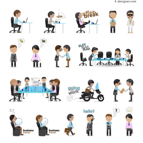 Workplace cartoon characters vector material