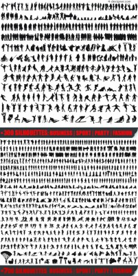 1000 kinds of sports gesture silhouette figures vector material 1000 kinds of attitude