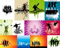 12 trend of music related figures silhouette vector material eps format vector material