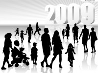 2009 with three dimensional silhouette figures vector material