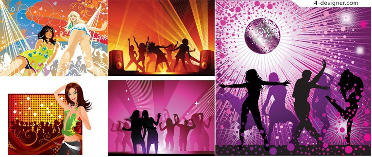 5 disco music vector material