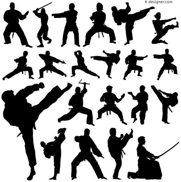 Kung fu martial arts action figures silhouette vector material