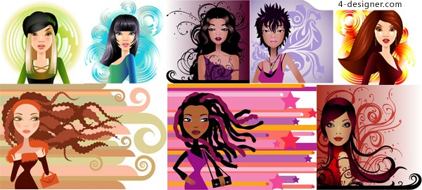 8 modern fashion trend of women vector material