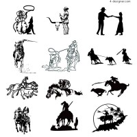 A black and white picture cowboy series vector material