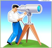 A man with a telescope people