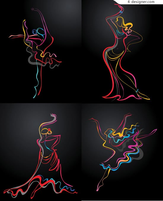 Abstract dancing figures vector material character lines